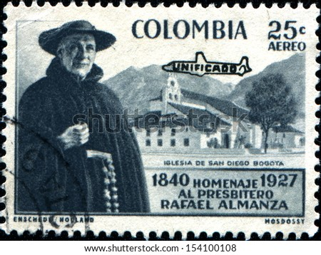 COLOMBIA - CIRCA 1958: A stamp printed in Colombia shows  Father Rafael Almanza and Chrch of San Diego Bogata, circa 1958  - stock photo