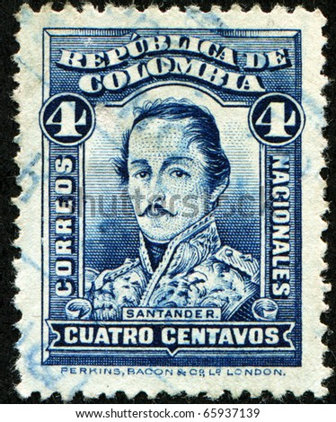 COLOMBIA - CIRCA 1883: A stamp printed in Colombia shows Francisco de Paula Santander - 4th President of the Republic of the New Granada, circa 1883