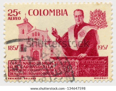 COLOMBIA - CIRCA 1959: A stamp printed in Colombia, shows Msgr. R. M. Carrasquilla (1857-1930), rector of Our Lady of the Rosary Seminary, Bogota and Church, circa 1959 - stock photo