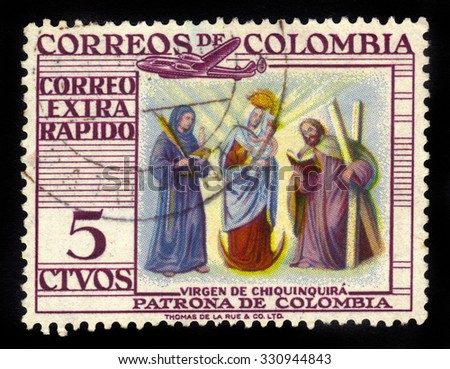 COLOMBIA - CIRCA 1954: A stamp printed in Colombia shows Our Lady of the Rosary of Chiquinquira or the Virgin of Chiquinquira, she is the patron saint of Colombia, circa 1954