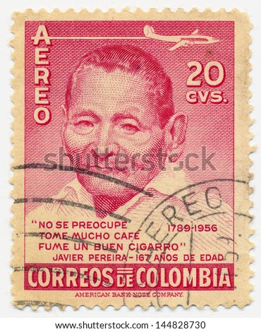 COLOMBIA  - CIRCA 1956: A stamp printed in Colombia shows portrait of Javier Pereira (1789-1956), circa 1956 - stock photo