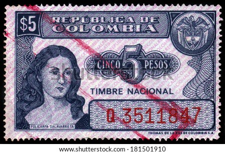 Colombia - CIRCA 1963: A stamp printed in Colombia shows portrait of Policarpa Salavarrieta, heroine of the colombian independence movement, circa 1963 - stock photo