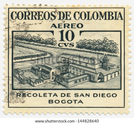 COLOMBIA - CIRCA 1953: A stamp printed in Colombia shows Retreat of San Diego, circa 1953 - stock photo