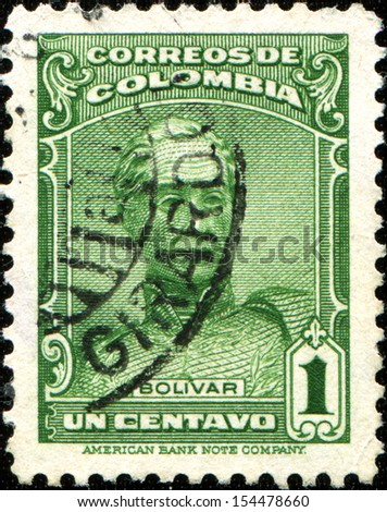 COLOMBIA - CIRCA 1939: A stamp printed in Colombia shows Simon Bolivar, circa 1939  - stock photo