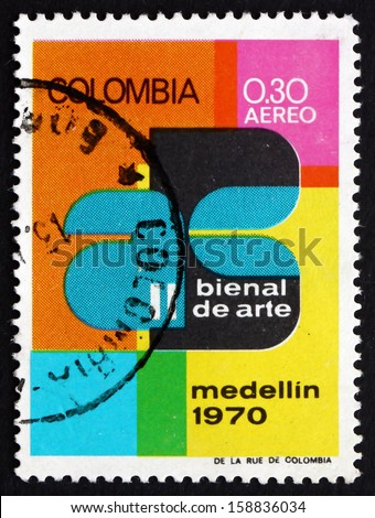 COLOMBIA - CIRCA 1970: a stamp printed in the Colombia shows Art Exhibition Emblem, 2nd Biennial Art Exhibition, Medellin, circa 1970 - stock photo