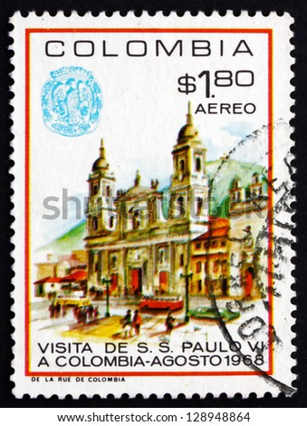 COLOMBIA - CIRCA 1968: a stamp printed in the Colombia shows Cathedral of Bogota, Visit of Pope Paul VI to Colombia, circa 1968 - stock photo