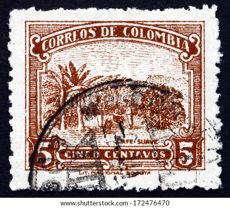 COLOMBIA - CIRCA 1932: a stamp printed in the Colombia shows Coffee Cultivation, Plantation, circa 1932 - stock photo