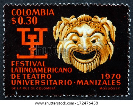 COLOMBIA - CIRCA 1970: a stamp printed in the Colombia shows Greek Mask and Pre-Columbian Symbol of Literary Contest, circa 1970 - stock photo