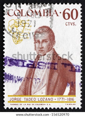 COLOMBIA - CIRCA 1967: a stamp printed in the Colombia shows Jorge Tadeo Lozano, Viscount of Pastrana, Naturalist, Portrait, circa 1967 - stock photo