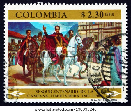 COLOMBIA - CIRCA 1969: a stamp printed in the Colombia shows Simon Bolivar and Victorious Army Entering Bogota, Painting by Ignacio Castillo Cervantes, circa 1969 - stock photo