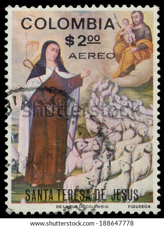 COLOMBIA - CIRCA 1970: a stamp printed in the Colombia shows St. Theresa, Painting by Baltazar de Figueroa, Elevation of St. Theresa to Doctor of the Church, circa 1970 - stock photo