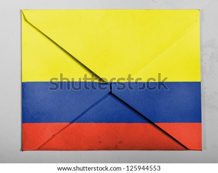 Colombia. Colombian flag  painted on grey envelope