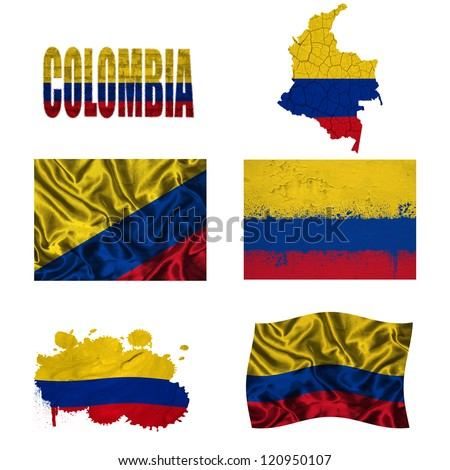 Colombia flag and map in different styles in different textures