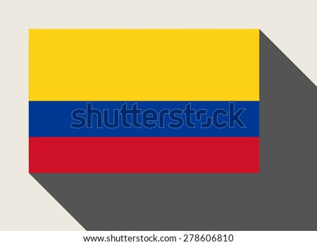 Colombia flag in flat web design style. - stock photo