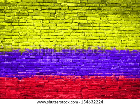 Colombia flag painted on old brick wall - stock photo