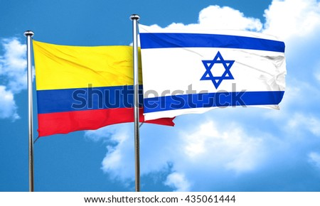 Colombia flag with Israel flag, 3D rendering