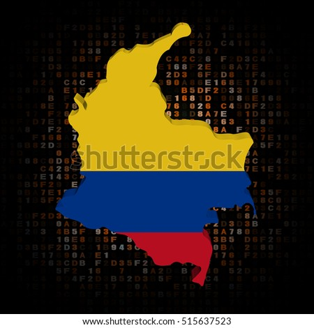 Colombia map flag on hex code 3d illustration