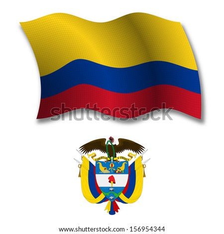 colombia shadowed textured wavy flag and coat of arms against white background, art illustration - stock photo