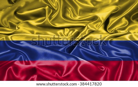 colombia  silk flag - stock photo