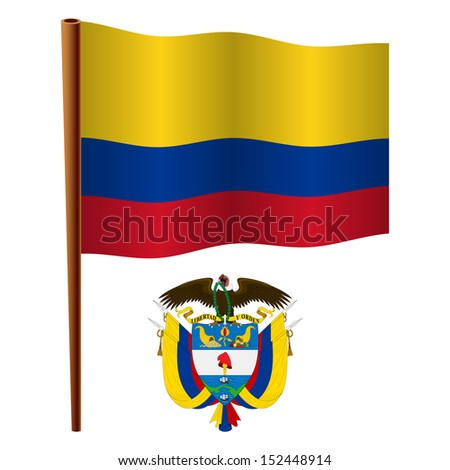 colombia wavy flag and coat of arms against white background, art illustration - stock photo