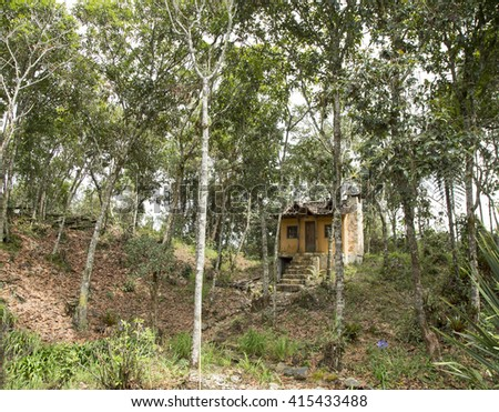 Colombian forest house in the middle - stock photo