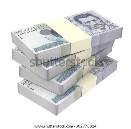 Colombian pesos money isolated on white background. Computer generated 3D photo rendering. - stock photo