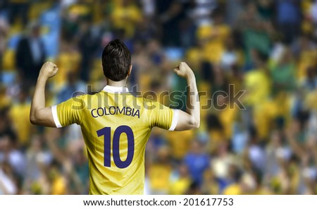Colombian soccer player celebrates in the stadium