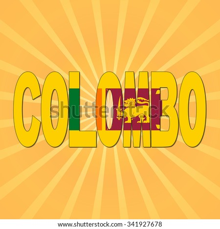 Colombo flag text with sunburst illustration - stock photo