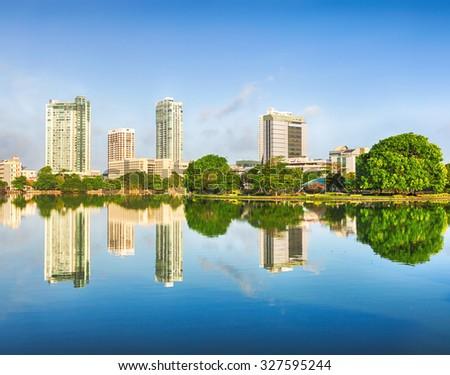 Colombo skyline. View from the Beira lake. Sri Lanka - stock photo