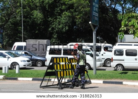 COLOMBO, SRI LANKA - DECEMBER 2, 2008: Military on the streets of Colombo. Colombo is the largest city of Sri Lanka.