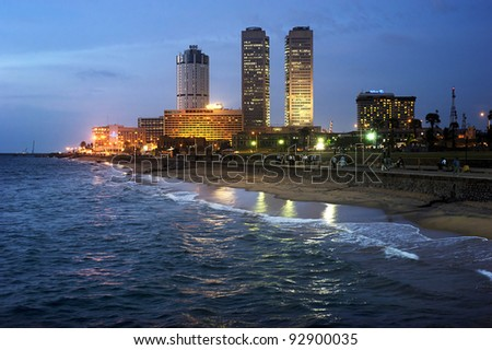 COLOMBO, SRI LANKA - FEBRUARY 22: Panorama of Colombo in the night on Feb 22, 2011 in Colombo. Colombo is the largest city and former capital of Sri Lanka with population about 1 million people.
