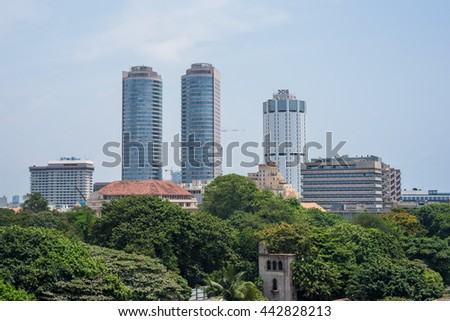 COLOMBO, SRI LANKA - MARCH 24, 2016: World Trade Center and Bank of Ceylon buildings are the tall building in Colombo, Colombo is prime business and office space of Sri Lanka.