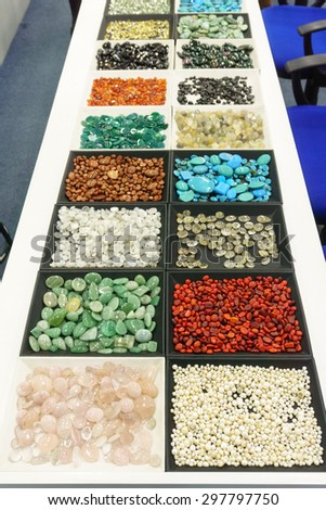 Colombo, Srilanka - 07 July, 2015: Gems from srilanka showing in the shop - stock photo