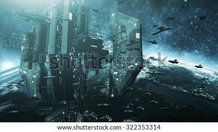 Colone of futuristic spaceships and an impressive space station. 3D rendering - stock photo