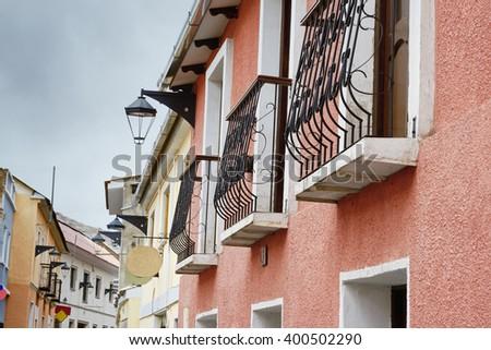 Colonial architecture in Potosi, Bolivia - stock photo