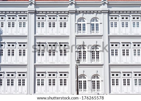 Colonial Architecture of Singapore's Chinatown. - stock photo