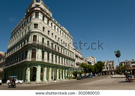 Colonial Building on Paseo de Marti - Havana - Cuba - stock photo