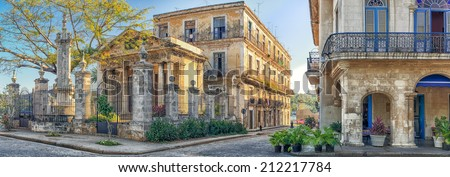 Colonial buildings in Old Havana at sunset - stock photo