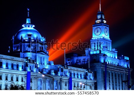 Colonial buildings on the Bund in Shanghai, China, by night (infrared image)