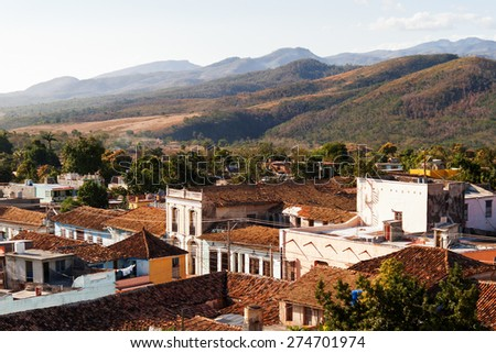 Colonial town cityscape of Trinidad, Cuba. UNESCO World Heritage Site. Panorama view. - stock photo