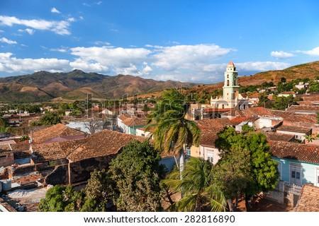 Colonial town cityscape of Trinidad, Cuba. UNESCO World Heritage Site. Tower of Museo Nacional de la Lucha Contra Bandidos - stock photo
