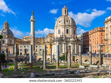 Colonna di Traiano and the churches of Santa Maria di Loreto and Santissima Nome di Maria (Most Holy Name of Mary ),and the ruins of the Foro di Traiano in the foreground, Rome, Italy