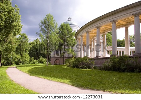 Colonnade and Chapel in summer at Moscow history State park - museum manor Arhangelskoe (series Landmarks and Church)