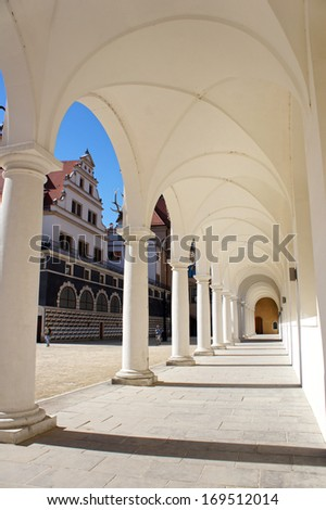 Colonnade at the Castle Stallhof in Dresden, Germany - stock photo