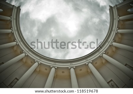 colonnade -  fish eye lens - stock photo