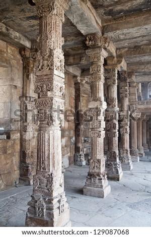 Colonnade in Quitab Minar Temple, Delhi, India - stock photo