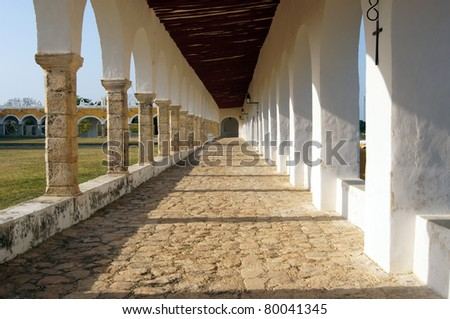 Colonnade in the monastery in Izamal, Mexico