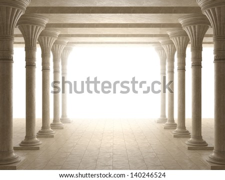 Colonnade of ancient columns - stock photo