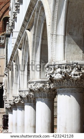 Colonnade of Doge Palace in Venice, Italy - stock photo