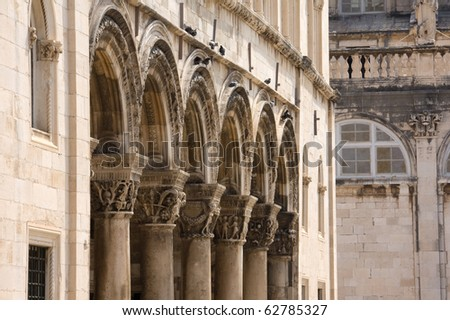 Colonnade of Princely Palace in Dubrovnik, Croatia - stock photo